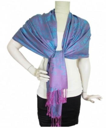 Elephant Print Scarf 100% Cashmere Shawls and Wraps for Women Soft Wool Large - Punch - CH186QY3AM3