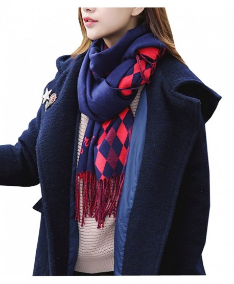 Wander Agio Womens Scarfs Winter Shawls Blanket Scarves Warm Plaid Tassels Scarf - Diamond Red Blue - CX186YHLKUS