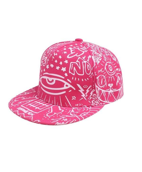 Kemilove Fashion Vintage Baseball Flat Bill Hat Hippie Eye Hiphop Adjustable Cap - Pink - CV12IFQ3Z0T