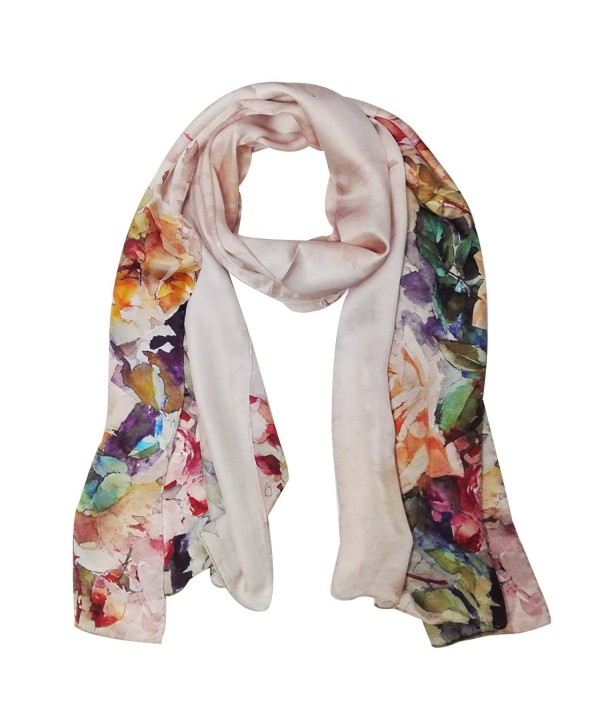 Wrapables Luxurious 100% Charmeuse Silk Floral Painting Long Scarf with Hand Rolled Edges- Roses in Bloom - CV11JY346KB