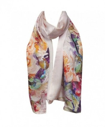 Wrapables Luxurious Charmeuse Floral Painting in Fashion Scarves
