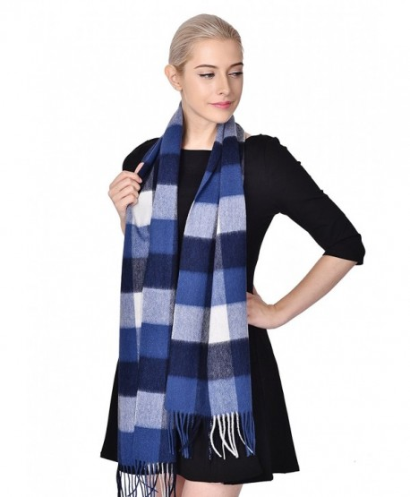 ADVANOVA Ideal Gift for Women 100% Wool Plaid Spring Shawl Blanket Scarf Gift Box - Blue White (Gift Box) - CF186D9ML3E