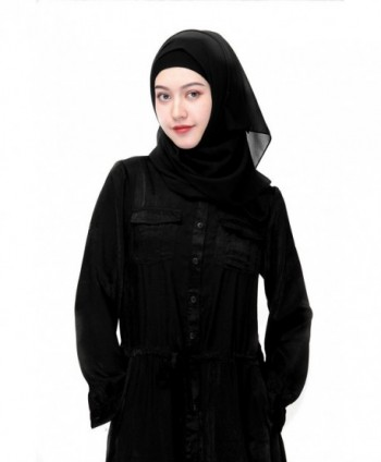 Uphily Lightweight Muslim Hijab Cap Chiffon Islamic Hijab Long Scarf Head Shawl - Black - CZ17YORDNLZ