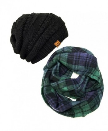 Bowbear Tartan Winter Infinity Scarf with Beanie - Blue/Green + Black - CI186435G34