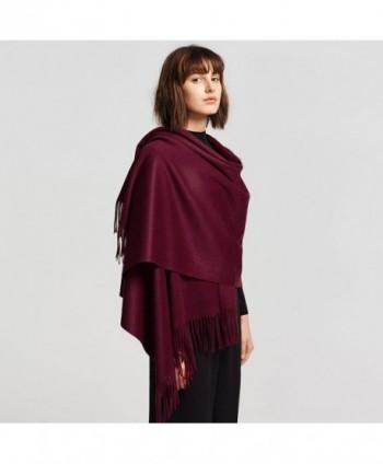 ALAIX WomensCashmere Lightweight Winter Wrap Weinred in Fashion Scarves