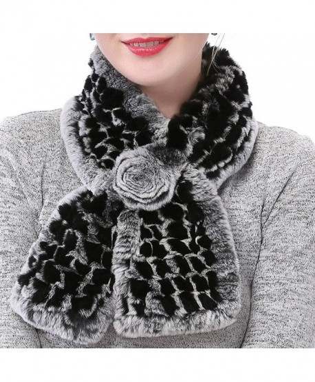 Valpeak Women s Real Rabbit Fur knitted Winter Warm Neck Wrap Scarf Rose  Design - Black - bd8d7b12e5