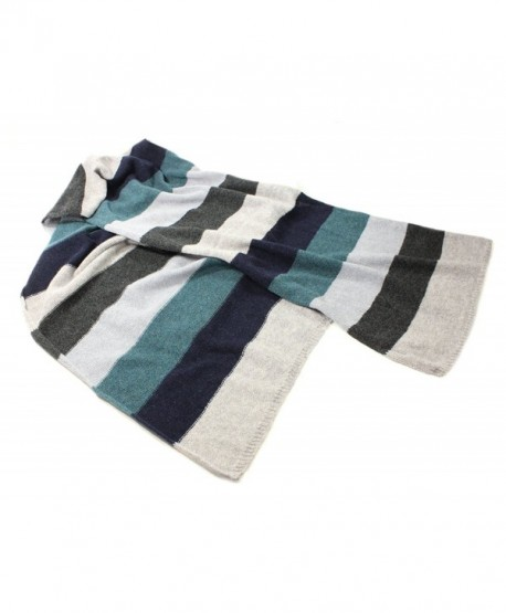 """Striped Scarf Long 100% Lambswool 72"""" x 15"""" - Grey/Teal - CF17YHZ9WES"""