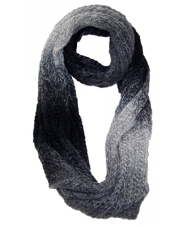 Best Winter Hats Women's Gradient Color Knit Infinity Winter Scarf (One Size) - Black/Gray - CY11QDRQTRJ