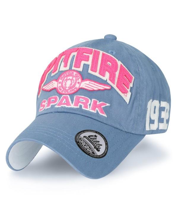 ililily Spitfire Patch Baseball Cap Washed Cotton Casual Adjustable Trucker Hat - Sky Blue - C8188HM7E5C