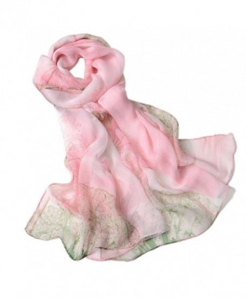 GBSELL Fashion Women Ladies Floral Chiffon Long Soft Wrap Scarf Shawl Scarves - Pink - CY12L2SV135