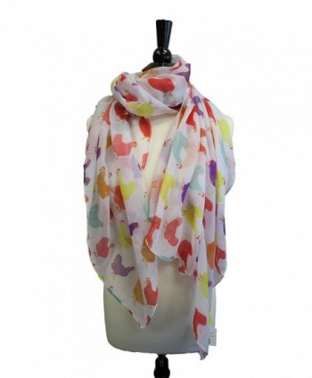 Fluffy Layers Fashion Scarves ( Horses and Chicken Prints) - White Chicken Print - CK12MYIH9E5