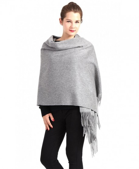 "Women Soft Cashmere Wool Wraps Shawls Stole Scarf - Large Size 78""x 28"" - Gray - C6188M2LU0T"
