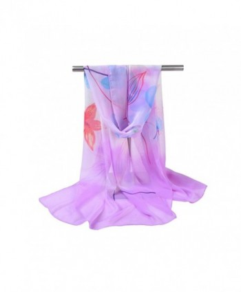Bbonlinedress Women's Soft Sheer Chiffon Shawl Flower Print Ladies Beach Wrap - Purple - CO182S8S97U