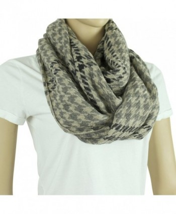 Picnic Blanket Plaid Infinity Scarf - Houndstooth- Black and Beige - C3127YK8HPF