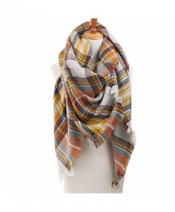Plaid Checked Tartan Scarf Wrap Shawl - Grey Orange - C71267ZVCQJ