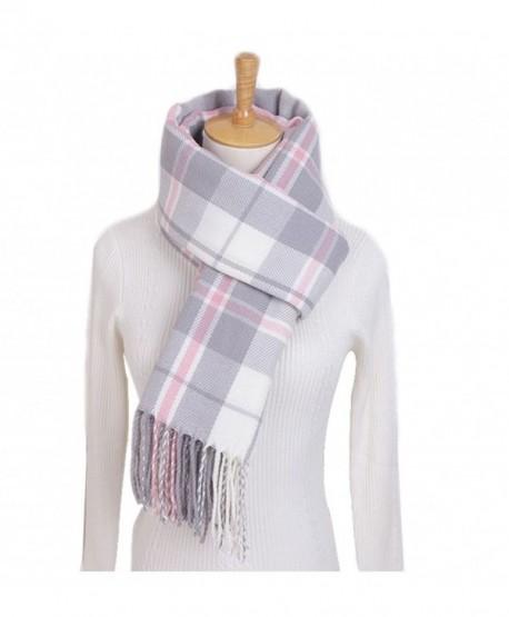WETOO Women's Classic Cashmere Winter Tartan Scarf Warm Scarves Shawl Cape - Light Grey - C1189IZM6Y2