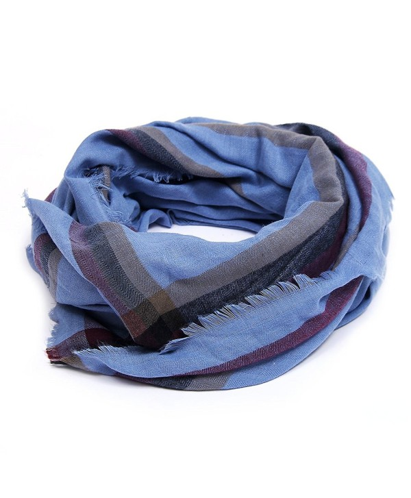 Women's Warm Plaid Blanket Scarf Gorgeous Checked Wrap Shawl - Blue - CZ186M4KA0O
