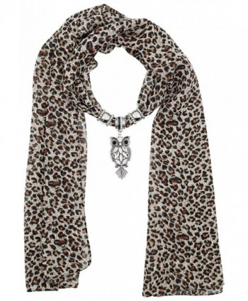 Leopard Print Long Scarf with Pendant Jewelry Charm - Owl - CH189U85885