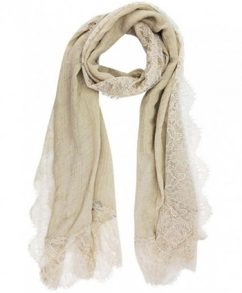 Gauzy Lightweight Spring Scarf With Lace Trim - Taupe - CG12NB55QY4