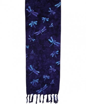 Batik Scarves - Dragonflies- Teal on Purple Only - Eggplant - CE123IVMBDX