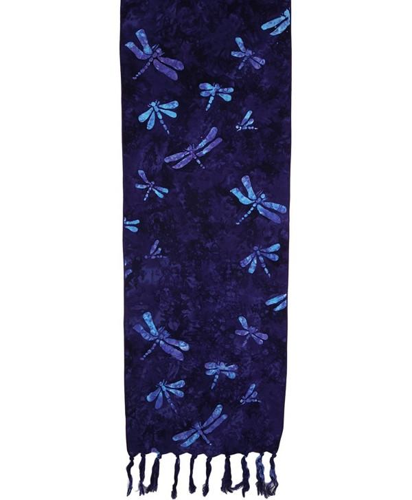 Batik Scarves - Dragonflies- Teal on Purple Only - Eggplant - CE123IVMBDX