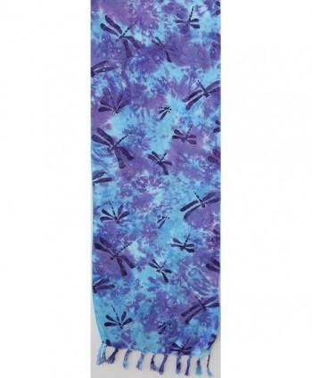 Batik Scarf Teal Dragonflies Purple