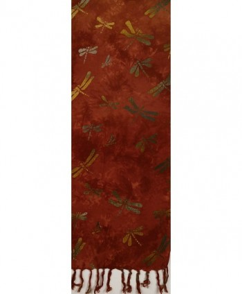 Batik Scarf Teal Dragonflies Purple in Fashion Scarves