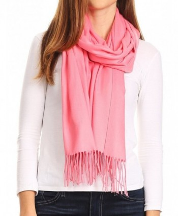 Sakkas Iris Warm Super Soft Cashmere Feel Pashmina Shawl / Scarf with Fringes - Coral - CL185QIS2IX