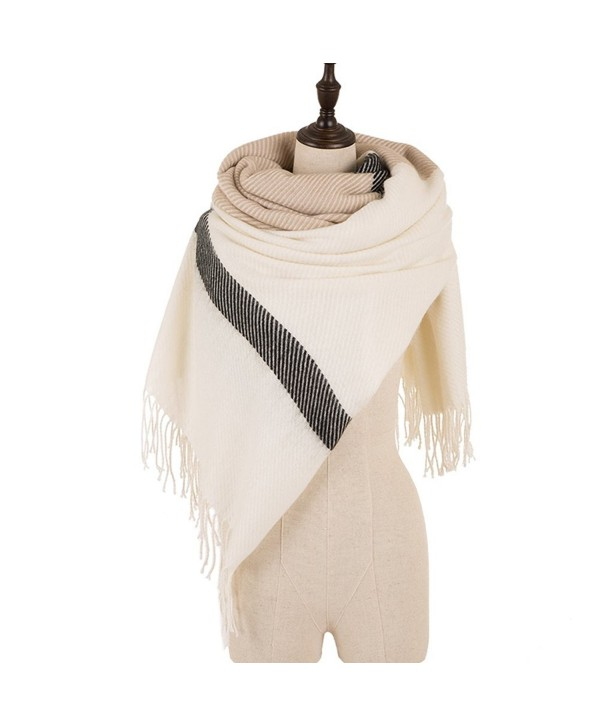 eUty Autumn Winter Soft Stripe Scarf Beige&Light Tan - CE12NTRP77G