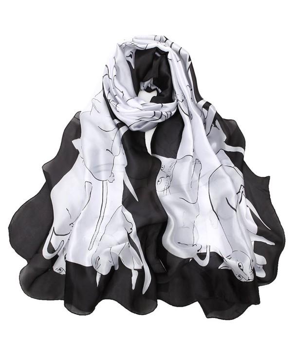 Sleep Koala Women Silk Scarf Large Satin Hair Scarves Fashion Pattern Wrap Shawl - Catwhite - CE189NQM4TX