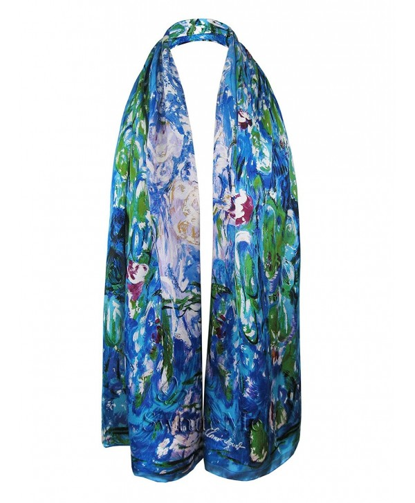 "Swhiteme Luxurious 100 Charmeuse Scarf - ""Claude Monet's """"Water Lilies"""""" - CB11QYOXCEJ"