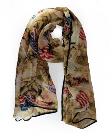 VegasHorizon Fashion Lightweight Scarf with Horse & American Flag Pattern - Khaki - CM1266KY7DZ
