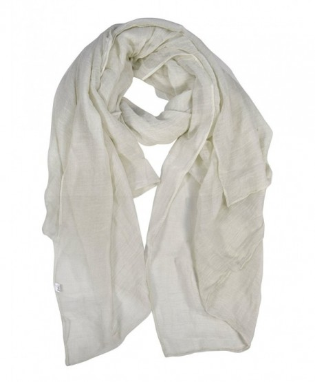 Peach Couture Light Weight Sheer Over Sized Scarf Sarong Beach Wrap - White - CY182LM82DU