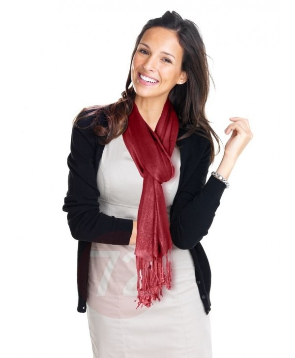 Kuldip Unisex Pashmina Scarf Shawl Wrap Throw Wine Red - C31130YIHDH