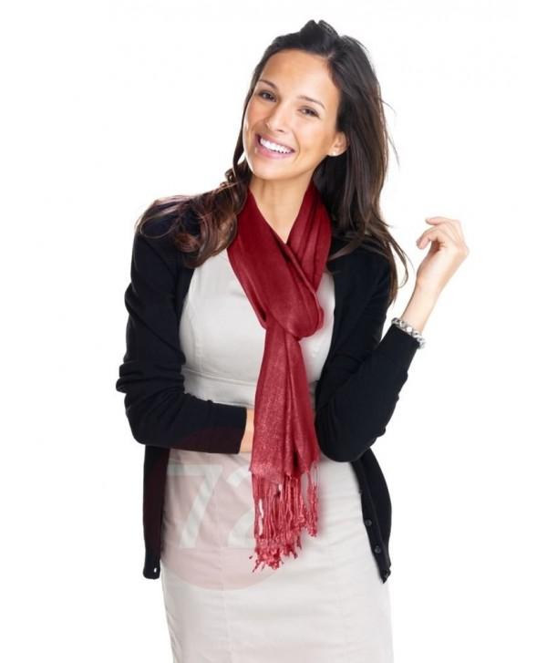 Kuldip Unisex Pashmina Scarf Shawl Wrap Throw Wine Red - C31130YIHDH