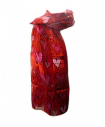 New Company Womens Valentines Day Hearts Scarf - Red - One Size - CS11IUGEBKX