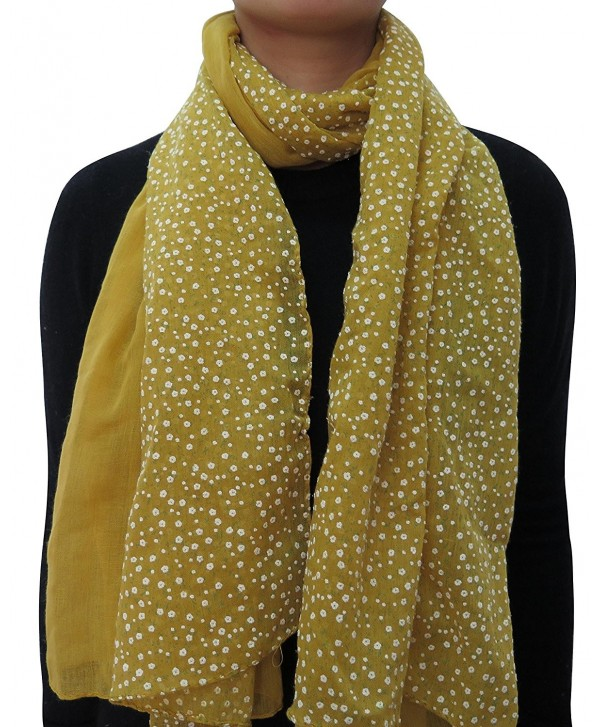 Lina & Lily Patchwork Floral Print Head Wrap Scarf for Women Lightweight - Gold - C211WGLSSY3