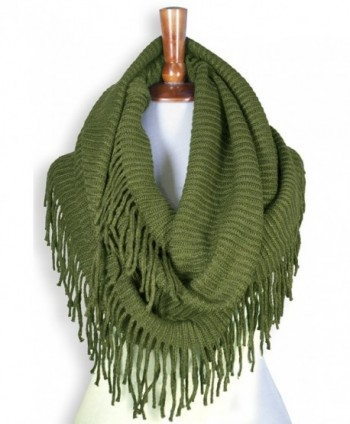 Basico Women Winter Warm Knit Infinity Scarf Tassels Soft Shawl ** Various Colors ** - G70 Apple Green - CY186MZ8G8E