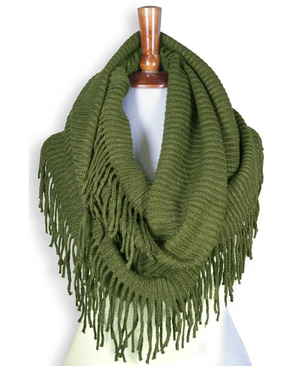 Basico Women Winter Warm Knit Infinity Scarf Tassels Soft Shawl ** Various Colors ** - G70 Apple Green - CY186MZ8G8E