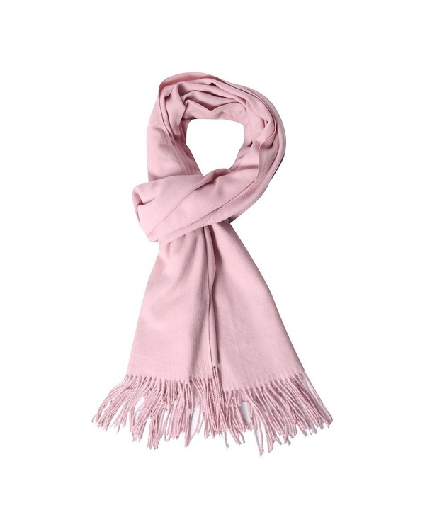 QBSM Womens Large Soft Scarf Solid Winter Pashmina Cashmere Feel Shawl Wraps for Women Girls - Baby Pink - CP189O3WR94