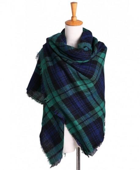 Women's Oversized Plaid Blanket Scarf Checked Warm Tartan Pashmina Wrap Shawl - Green - CU18646I99U