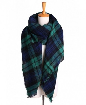 Womens Oversized Blanket Checked Pashmina in Cold Weather Scarves & Wraps