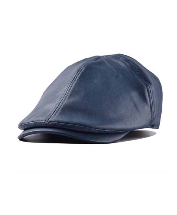 Elaco Mens Women Vintage Leather Newsboy Sunscreen Beret Cap Peaked Hat (Navy) - C612N32RFI7