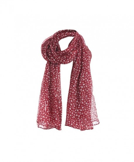 Women Ladies Stars Print Pattern Lace Long Scarf Warm Wrap Shawl - Red - C9188UNTL0T