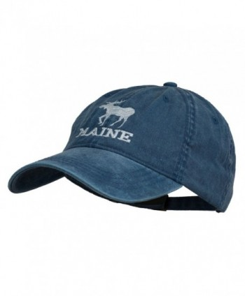 Maine State Moose Embroidered Washed Dyed Cap - Navy - CV11P5HWJZJ