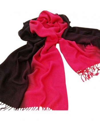 Gotoole Winter Women Gradient Color Soft Pashmina Warm Neck Wrap Tassel Scarf - Red Black - CQ12OBMHECU