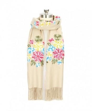 LOUISE&FIONA Women Scarves Floral Embroidery Tassels Cashmere Feel Scarf Wrap Shawl - Beige - CA187EU20OY