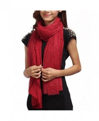 LerBen Womens Soft Fringe Pashmina Feel Lace Long Scarf Shawl Wrap Scarves Stole - Wine - CX12305OL8F