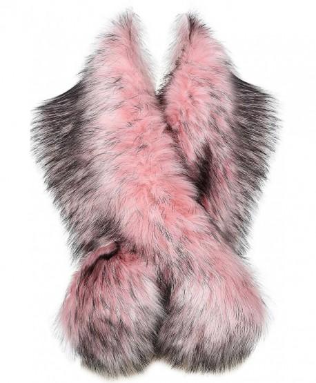 "BABEYOND Womens Faux Fur Collar Shawl Faux Fur Scarf Wrap Evening Cape for Winter Coat 47.2"" - Pink - C6187Q95IQ9"