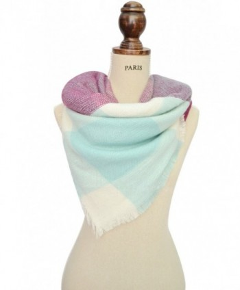Ancia Women Soft Plaid Scarf Large Wraps Shawl Sheer - Light Purple - CI126YNLUVL